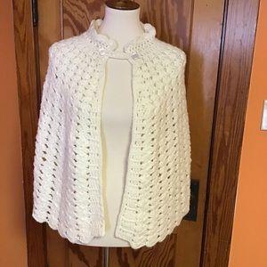 Vintage 70s crocheted handmade poncho shawl